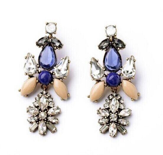 Hot New Design Fashion Resin Crystal Drop Flower Dangle Statement Stud Earring