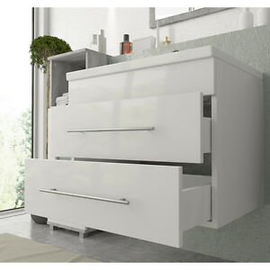 badm bel set 60cm badezimmer waschbecken unterschrank waschtisch g ste wc ebay. Black Bedroom Furniture Sets. Home Design Ideas