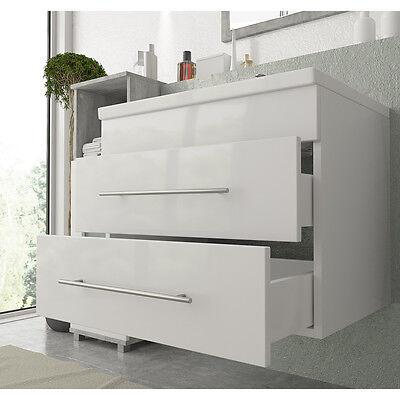 VICCO Badmöbel Set 60 cm Weiß Hochglanz - Waschbecken + Waschtisch / Gäste Bad