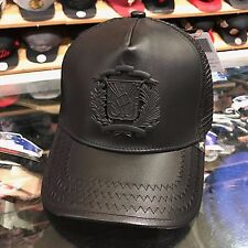 Gold Star Trucker Snapback Hat Cap Black Leather/Black Badge Dominican Republic