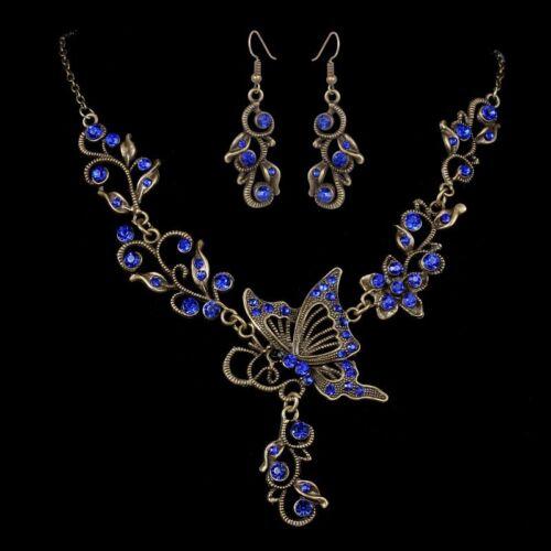 Retro Wedding Bridal Crystal Butterfly Women/'s Necklace Earrings Jewelry Set New