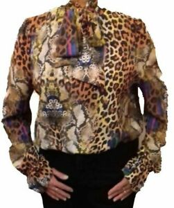 Womens Ladies Animal Snake Leopard Print Tie Up Pussy Bow Blouse Shirt Top