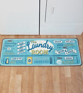 Details About Laundry Room Rug Decor Throw Runners Blue Large Utility Floor Mat Area Over 4 Ft