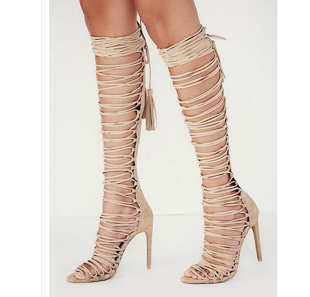 Gladiator Sandaleetten Damenschuhe Stilettoabsatz Pumps Wadenhohe Sommer Sandale