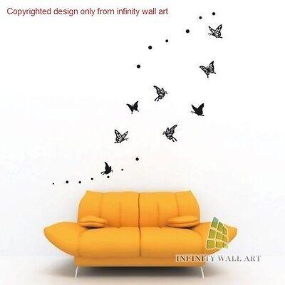 8 DETAILED Butterflies Wall Art Stickers Unique Design Butterfly Wall Decals/art