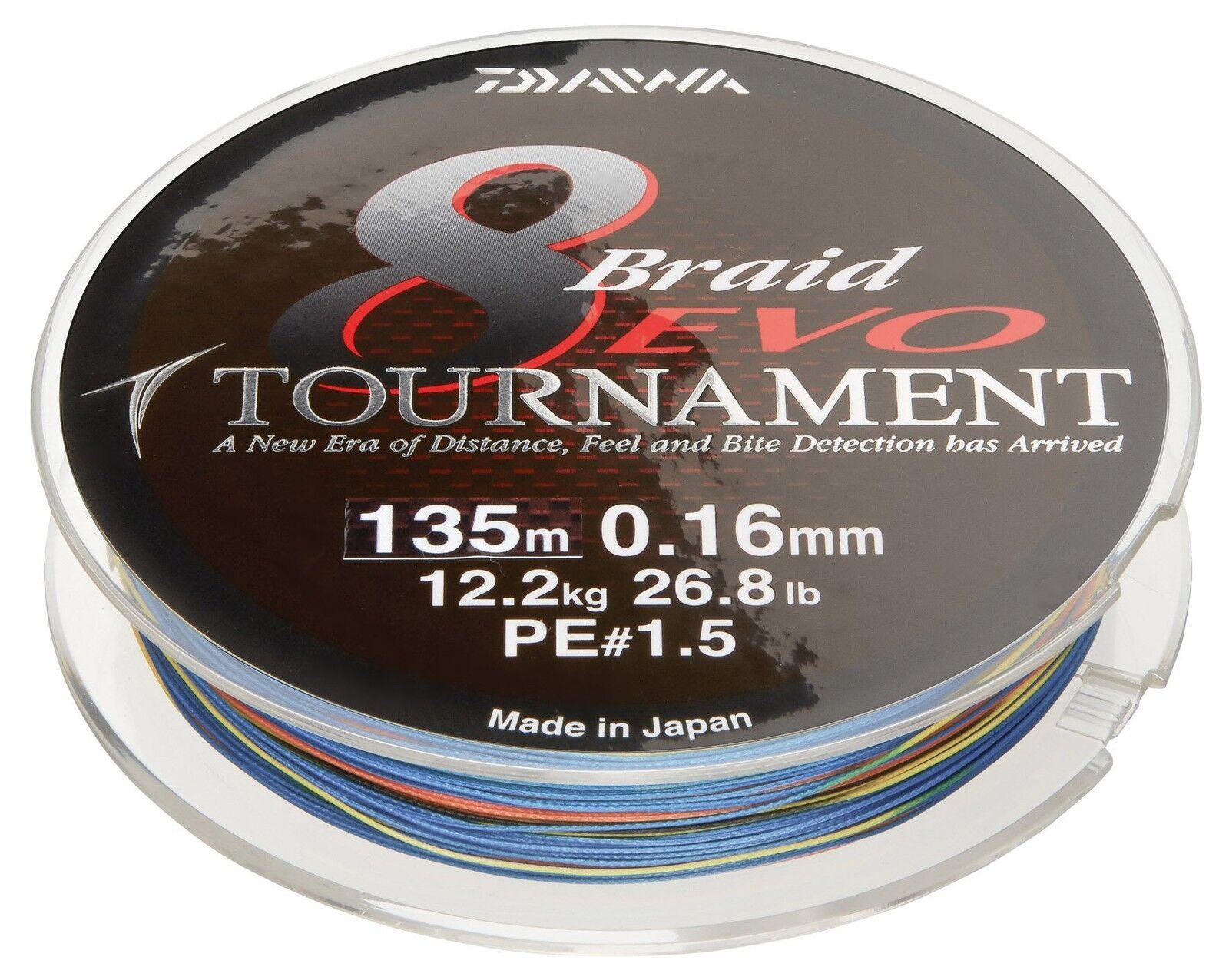 Daiwa Tournament 8 Braid EVO 300m multicolour - geflochtene Angelschnur