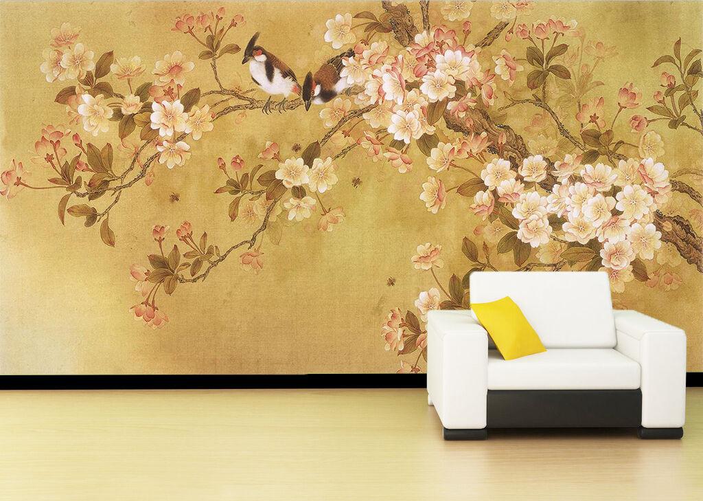 3D Tree Flowers Birds 4 WallPaper Murals Wall Print Decal Wall Deco AJ WALLPAPER
