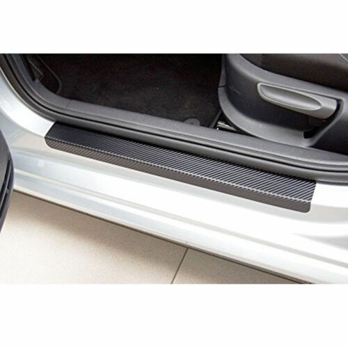 4pcs Car Door Sill Scuff Carbon Fiber Black Stickers Welcome Pedal Protect