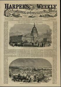 Capitol-Building-Washington-D-C-City-View-nice-1860-great-old-print-for-display