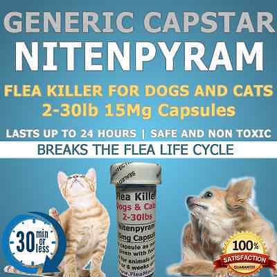"Flea Killer Dogs/Cats 2-30lb 60 15mg ""Generic Capstar"" capsules"