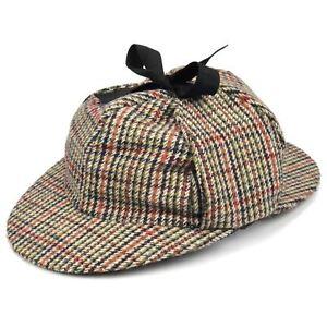 Wert für Geld später neuartiges Design Details zu Tweed Deerstalker-Hut Sherlock Holmes Schirm Bommel  Ohrenschützer Hawkins