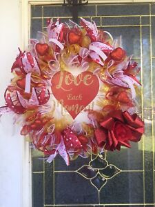 Details About Valentines Day 14 Inch Wreath Handmade Deco Mesh Wooden Sign Gold Red White