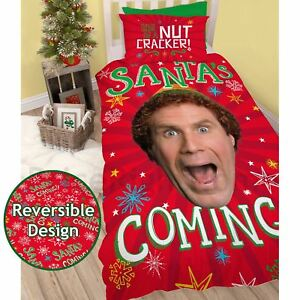 Buddy-The-Elf-Santa-Set-Housse-de-Couette-Simple-Noel-Festif-2-IN-1-Design