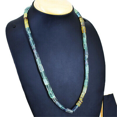 380.00 Cts Natural Untreated Green Fluorite Round Shape Beads Necklace NK 15E92