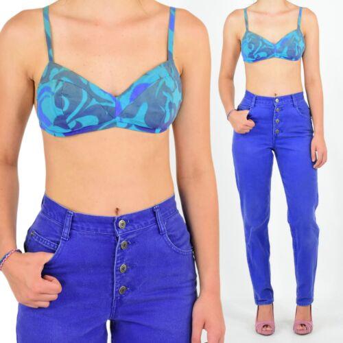 1940's Vintage Bikini Top Blue & Purple Size XS 3… - image 1