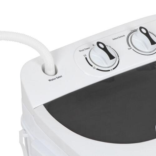 White Top Load Mini Washing Machine Compact Twin Tub 13lb Washer Spin /& Dryer