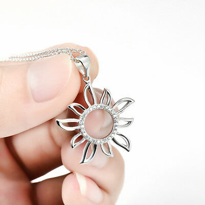 New 925 Sterling Silver Necklaces Crystal CZ Sunflower Pendant 18""