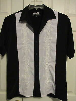 Mens M Classic Dragonfly Black White Cuban Club Lounge Button Front SS Shirt