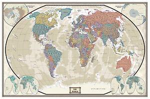 Modern Day World Map.30x43 World Modern Day Antique Wall Map Framed Edition Ebay