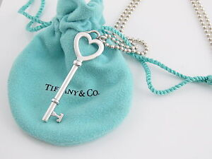 Tiffany Amp Co Silver Huge Key Heart 34 Inch Chain Necklace