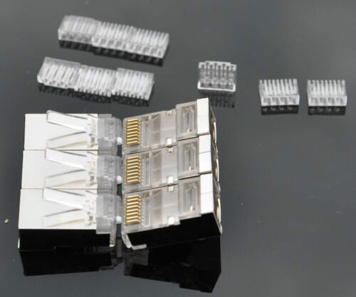 50 pcs Cat.6 RJ45 Modular Plugs shielded ver Included wires insert loading bar