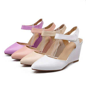 Womens-Synthetic-Leather-Shoes-Wedge-High-Heels-Ankle-Strap-Sandals-AU-Size-s331