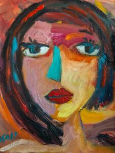 """Original Art Portrait Oil Painting on Primed Canvas 12"""" x 9"""""""