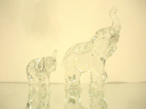 Pair Of Waterford Crystal Elephant Figurines Adult And Baby Ebay