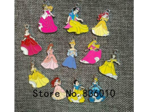 lot cartoon princess Charm Necklace Bracelet Earrings Pendants Key DIY