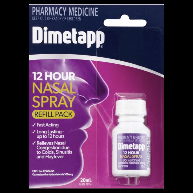 Dimetapp 12 Hour Nasal Spray Refill Pack 20mL Nasal Congestion Fast Acting