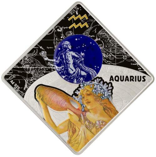 Macedonia 2018 100MKD Aquarius Zodiac Signs 0.925 Silver Coin
