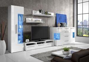 Moderne Wohnwand Hochglanz Weiss Roma Plus Mit Kommode U Led 5