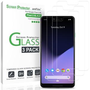 Google-Pixel-3-XL-amfilm-Case-Friendly-Protection-d-039-ecran-verre-trempe-3-Pack