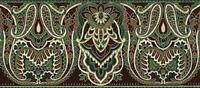 Gold Paisley Elegant Vintage Burgundy Green Indian Wall Wallpaper Border Rolls