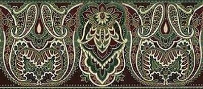 Gold Paisley Elegant Vintage Burgundy Green Indian Wall Wallpaper Border Rolls