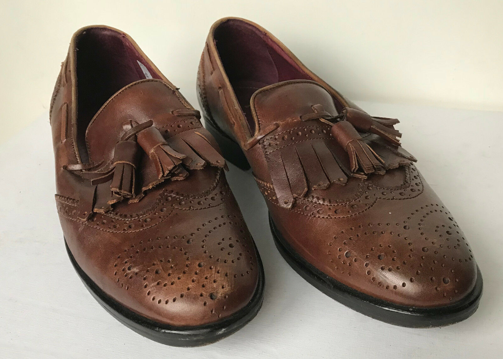 bce15cf51957 Real Tan Leather Brown shoes Tassel Loafers 100% Poste nbzhsv4043 ...