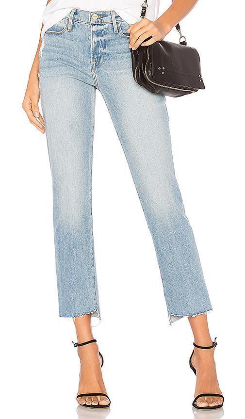 FRAME Denim LE HIGH STRAIGHT Medium-Wash Raw-Hem JONES Skinny Jeans 24 NEW  235
