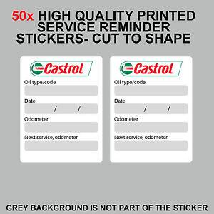 50x castrol oil change service reminder stickers adhesive. Black Bedroom Furniture Sets. Home Design Ideas