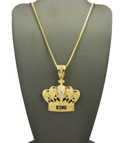 """NEW KING CROWN PENDANT /&24/"""" BOX//CUBAN//ROPE CHAIN HIP HOP NECKLACE XZ135"""