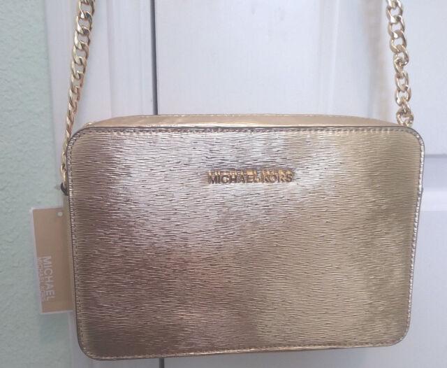 Michael Kors Jet Set Large EW Metallic Pale Gold Crossbody Handbag NWT