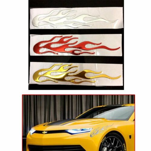 Motorbike Auto Car 3D Flame Fire Reflective Sticker Vinyl Decal Silver Gold Red