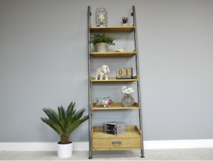 huge discount 604d1 f8c6c Details about RECLAIMED RUSTIC WOOD METAL LEAN TO LADDER STYLE SHELVES  SHELVING UNIT (DX3981)