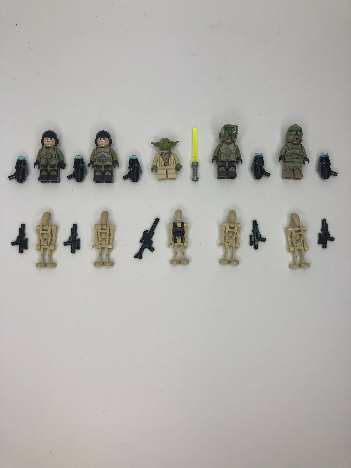 LEGO Star Wars Minifigures Yoda Kashyyyk Clone Troopers Droids Lot Weapons A5