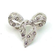 Wedding Silver Rhinestones Bow Knot Bridal Prom Small Brooch Pin BR279