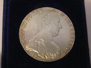Antique 1780 SF Austria Maria Theresa Thaler Silver Coin w/ Felt Lined Case