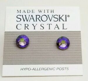 Gray-Purple-Round-Stud-Earrings-6mm-Crystal-Made-with-Swarovski-Elements-AB