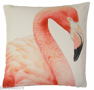 """FILLED PINK WHITE FLAMINGO FEATHER PRINTED 18"""" - 45CM CUSHION"""