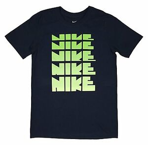 Details About Nike Boys Dna Repeat Logo Cotton Graphic Shirt Lime Green Navy Ah3219 451 S