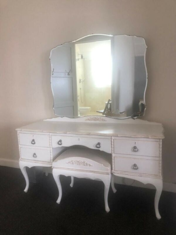 Beautifully painted antique dressing table and stool
