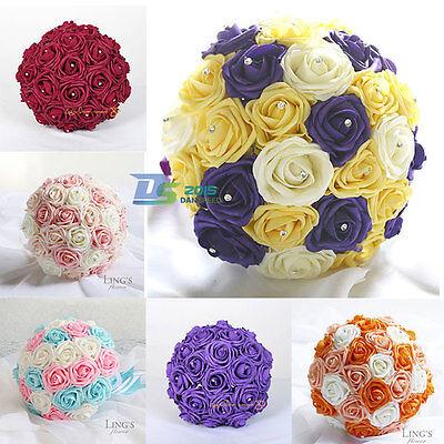26cm Handmade Bride Bridesmaid Wedding Pearl Rose Bouquet Crystal Party Flowers